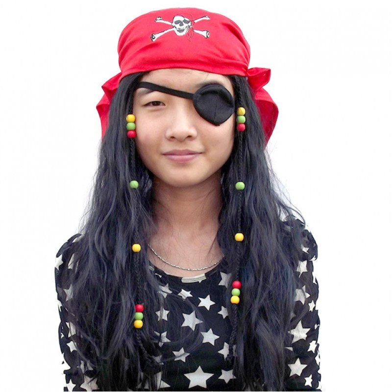 Парик пирата с банданой  и повязкой на глаз 75 см