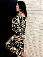 Домашний велюровый костюм камуфляжной расцветки