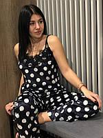 Велюровая черная пижама в крупный белый горох