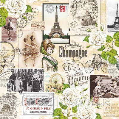 Серветка декупажна Колаж про Парижі 3086