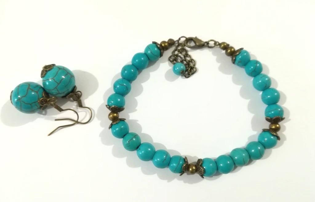 Браслет + серьги - украшения из Бирюзы, натуральный камень, тм Satori \ Sn - 0065