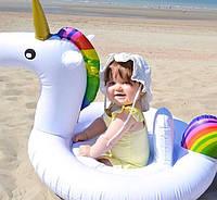Надувной детский круг круг-ходунки Белый Радужный Единорог с трусиками