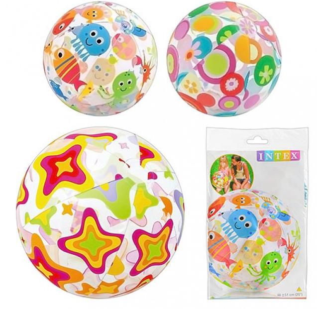 Мяч пляжный надувной разноцветный 51см