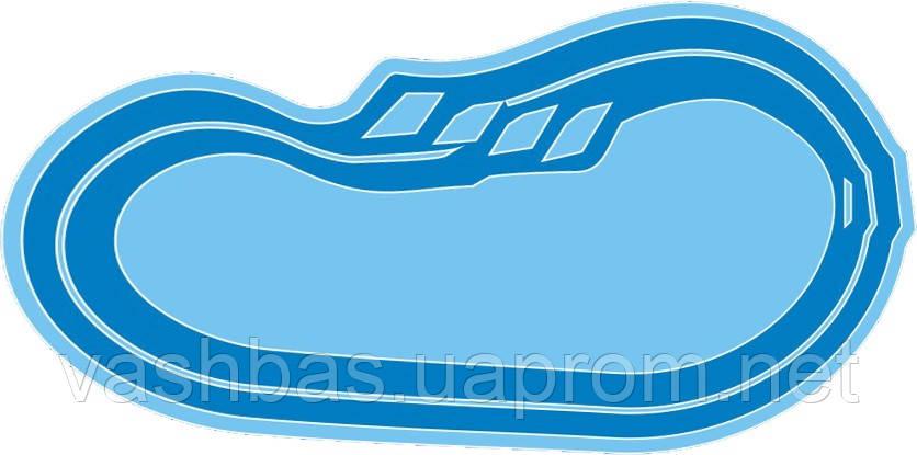 """Стационарный стекловолоконный усиленный бассейн """"Атлант"""" 6,4х3,2 глубиной от1,2 до 1,6м."""