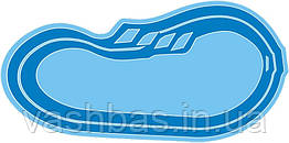 """Стаціонарний скловолоконний посилений басейн """"Атлант"""" 6,4х3,2 глибиною від1,2 до 1,6 м."""
