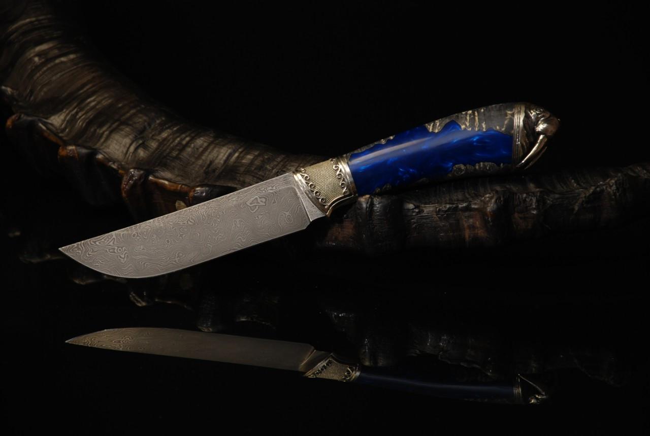 """Охотничий нож ручного изготовления """"Морж"""", дамасск"""