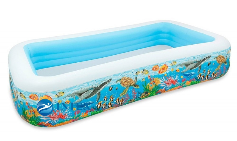 Надувной семейный бассейн тропический риф   305х183х56см
