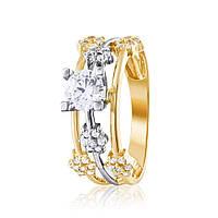 """Кольцо  с камнем SWAROVSKI Zirconia """"Вензель"""", комбинированное золото, КД4182/2SW Эдем"""