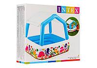 Детский надувной бассейн со съёмной крышей 157x157x122 см. Intex, фото 1