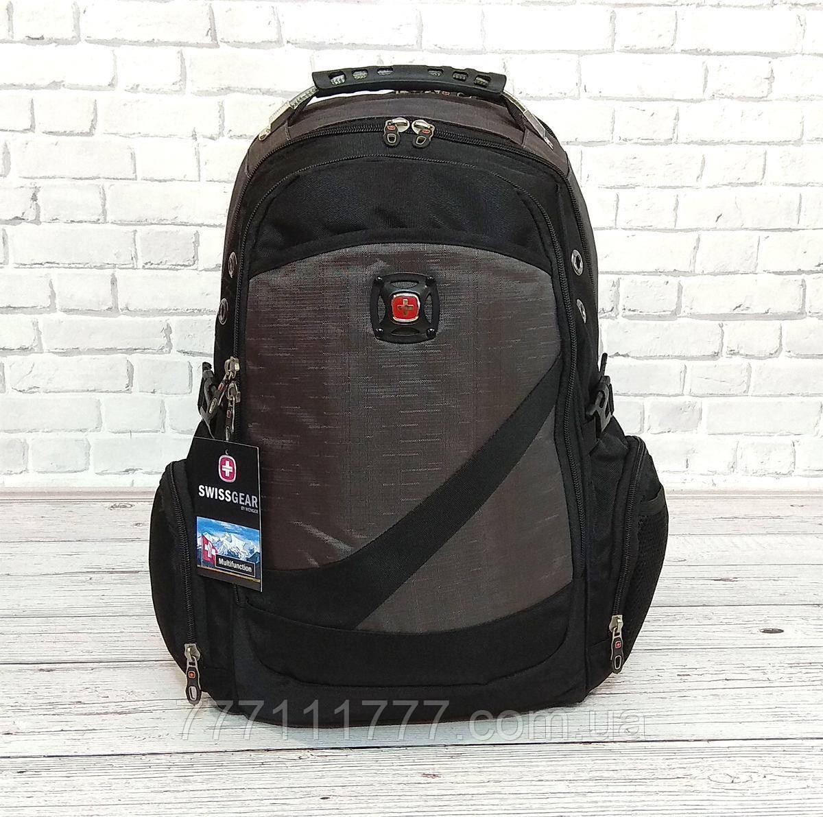 1fed176fc3d3 Спортивный рюкзак SwissGear Wenger Черный с серым + Дождевик ...