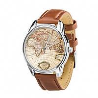 Часы Ziz Карта, ремешок кофейно-шоколадный, серебро и дополнительный ремешок SKL22-142617