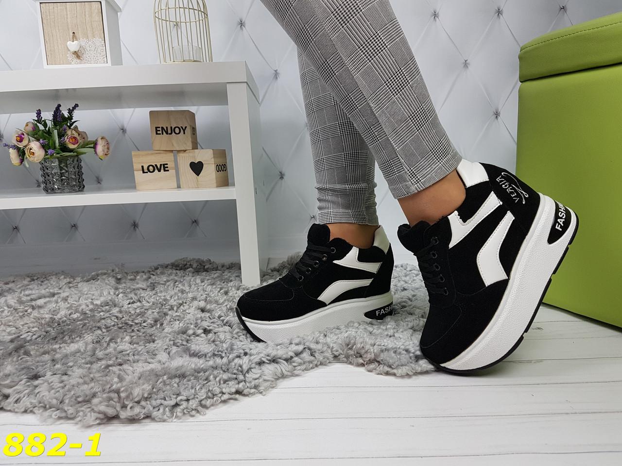 Кроссовки сникерсы на платформе с танкеткой черно-белые черный носок