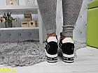 Кроссовки сникерсы на платформе с танкеткой черно-белые черный носок, фото 2