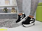 Кроссовки сникерсы на платформе с танкеткой черно-белые черный носок, фото 6