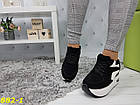 Кроссовки сникерсы на платформе с танкеткой черно-белые черный носок, фото 5