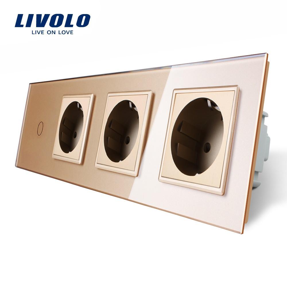 Сенсорный выключатель с тремя розетками Livolo, цвет золото, стекло (VL-C701/C7C3EU-13)