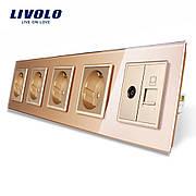 76ebc04f9c288 Розетка с заземлением ТВ розетка интернет розетка RJ-45 Livolo цвет золотой  стеклянная (VL-C7C4EU1C1V-13)