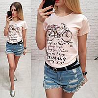 Женская футболка летняя рисунок Велосипед 100% катон качество турция цвет пудра, фото 1