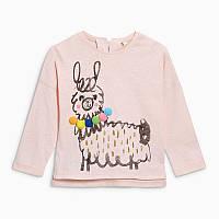 Кофта из хлопка на пуговицах для девочки с прикольным рисунком Лама Little Maven Розовая (49094)