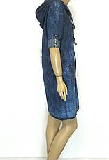 Жіноче джинсове плаття на замку з капюшоном, фото 2