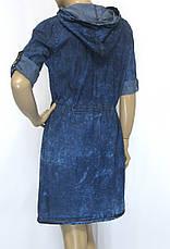 Жіноче джинсове плаття на замку з капюшоном, фото 3