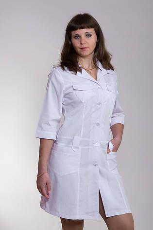 Медицинский халат женский белый 2111 ( батист 40-52 р-р ), фото 2