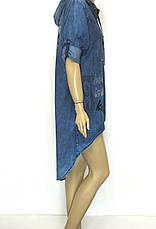 Джинсове плаття на замку з капюшоном великі розміри, фото 2