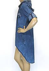 Джинсове плаття на замку з капюшоном великі розміри, фото 3