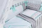 """Детская сатиновая постель ASIK """"ROYAL LACE"""" в мятно-сером цвете, с кружевом (№7-313), фото 5"""