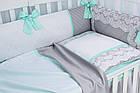 """Детская сатиновая постель ASIK """"ROYAL LACE"""" в мятно-сером цвете, с кружевом (№7-313), фото 4"""