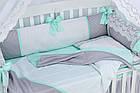 """Детская сатиновая постель ASIK """"ROYAL LACE"""" в мятно-сером цвете, с кружевом (№7-313), фото 6"""