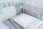 """Детская сатиновая постель ASIK """"ROYAL LACE"""" в мятно-сером цвете, с кружевом (№7-313), фото 7"""