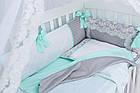 """Детская сатиновая постель ASIK """"ROYAL LACE"""" в мятно-сером цвете, с кружевом (№7-313), фото 8"""