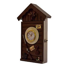 Ключница  настенная деревянная Охотничий домик 43x 27x 5см (59575)