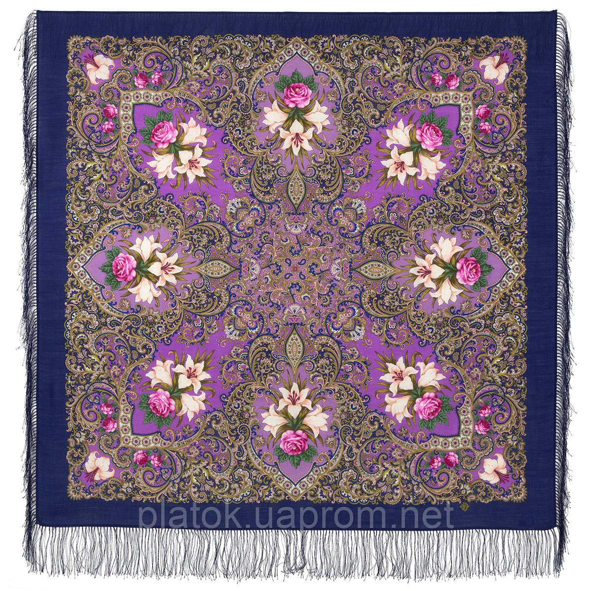 Сказки летней ночи 1862-14, павлопосадский платок шерстяной с шелковой бахромой