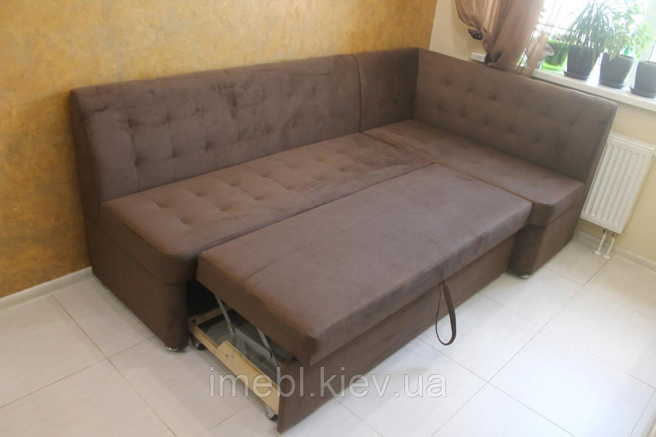 Угловой кухонный диван со спальным местом и ящиком (Коричневый)