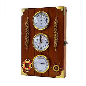 Ключница  настенная, деревянная  Часы,термометр и гигрометр 30*20*4см (60126)
