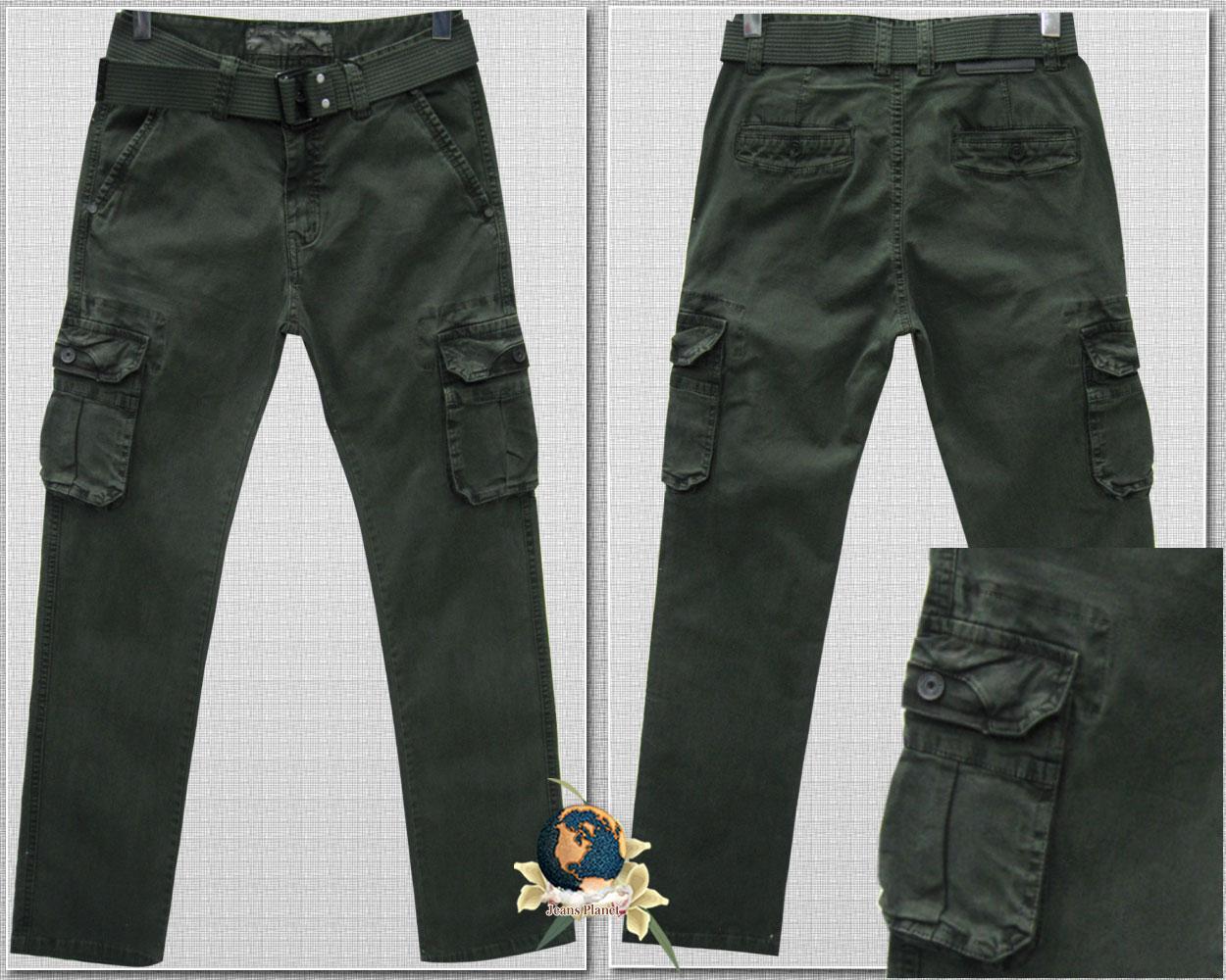 Джинсы мужские ITENO оригинал прямые с карманами цвет хаки зелёный 30 размер
