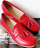 Супер Лоферы!  Весна Лето 2020! Натуральная мягкая кожа туфли женские Loafer красные, фото 5