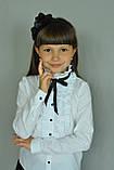 Школьная нарядная блузка с рюшами и чёрной лентой, фото 2