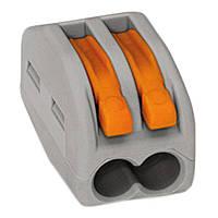 Клемник з'єдн. самозажим 2 входи (0,5-2,5(4,0)мм/32А) WAGO LU-ACC-102 сірий оранж ричаг (100 шт/ящ)