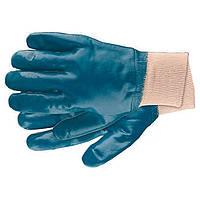 Перчатки рабочие из трикотажа с нитриловым обливом манжет M Сибртех 67756