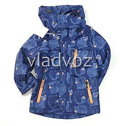 Детская демисезонная куртка на мальчика темно синяя 3-4 года