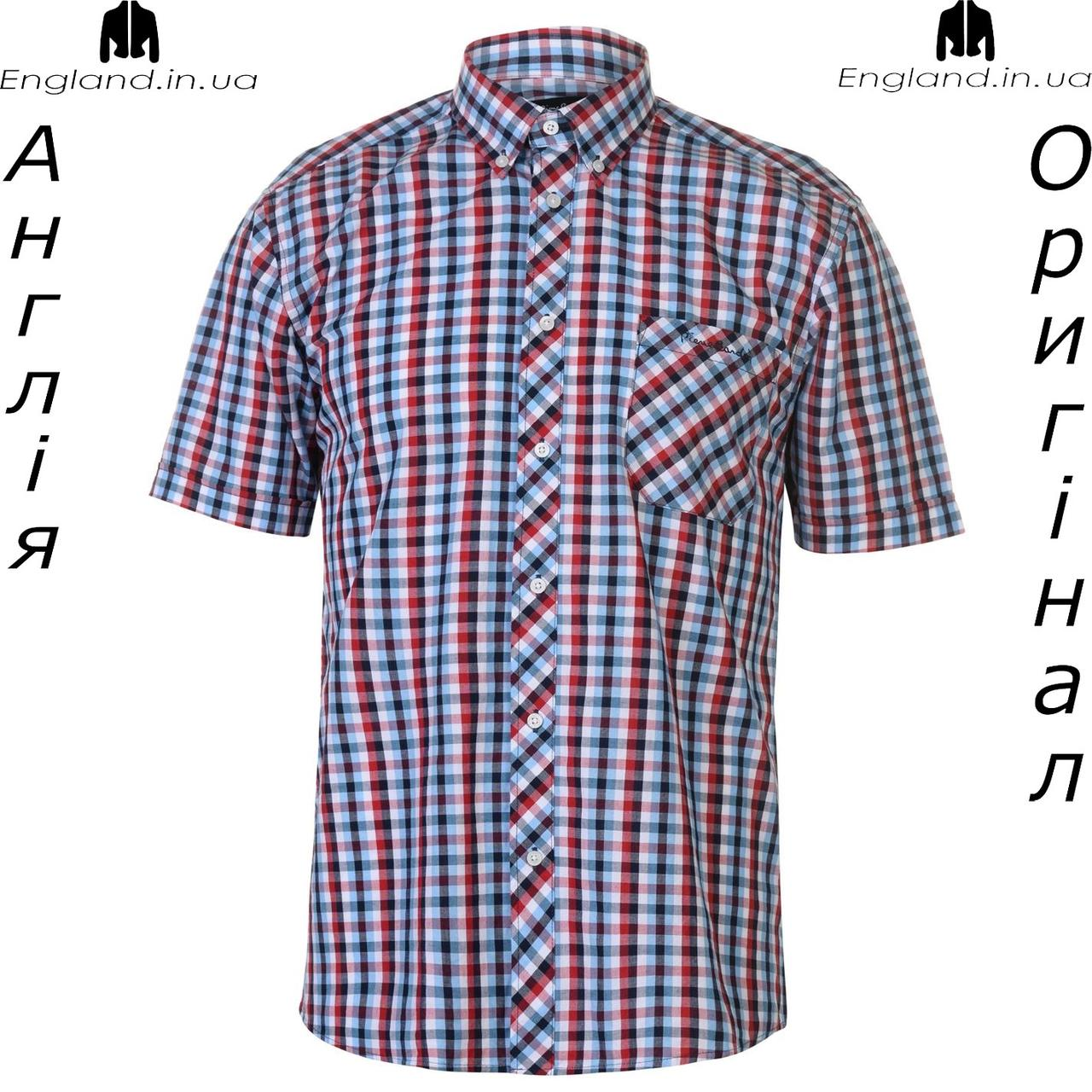 a3c7ebcf7f1 Рубашка в клетку мужская Pierre Cardin из Англии - на короткий рукав -  Интернет-магазин