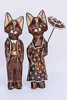 Пара котов с зонтом, 40 см. - дерево