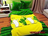 """Хлопковый семейный набор постельного белья """"Gold"""" №157264АВ Черешенка"""