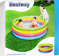 BW Бассейн 51117 детский, надувной, круглый, 157-46 см, 4 кольца, в кор-ке