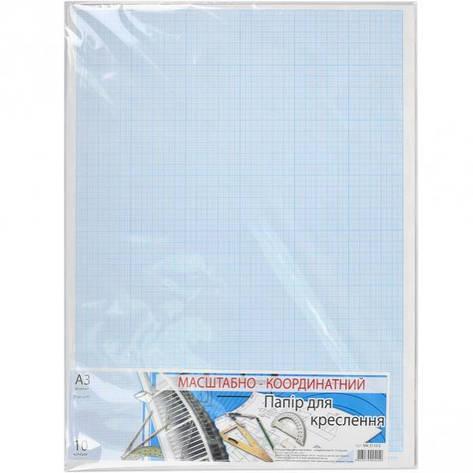 Бумага масштабно-координатная А3 «Графика» 10 листов, в п/п пакете, фото 2