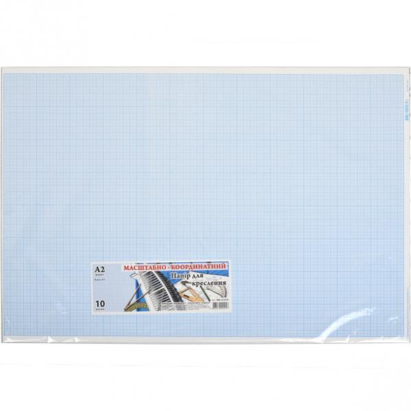 Бумага масштабно-координатная А2 «Графика» 10 листов, в п/п пакете