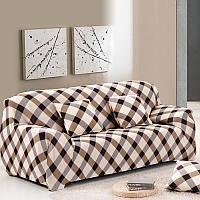 Чехол на диван HomyTex универсальный эластичный 2-х местный, Клетка коричневая